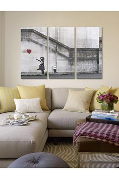 Banksy There Is Always Hope Balloon Girl 60inX40in 3-Piece Canvas Prints