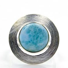 'Divine Beauty' Sterling Silver Larimar Ring, Size 9.75