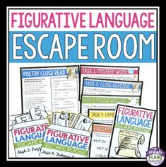 FIGURATIVE LANGUAGE ESCAPE ROOM ACTIVITY 8th Grade Ela, 6th Grade Reading, Sixth Grade, Language Lessons, Language Activities, Escape Room, 6th Grade Activities, Figurative Language Activity, Grades