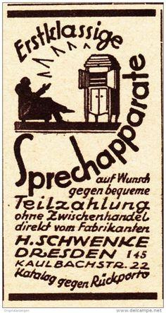Original-Werbung/ Anzeige 1926 - SPRECHAPPARATE / SCHWENKE - DRESDEN - ca. 30 x 60 mm