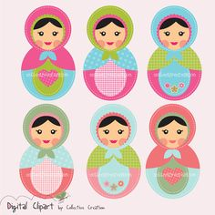 Babushka Russian Doll Matryoshka Digital Clip Art Set - Scrapbooking, Paper Crafts and Cardmaking