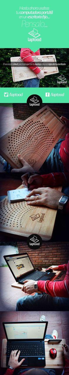 Wood stand for laptop. Wood product. Mesa para notebook? Escritorio portátil? Soporte para laptop? Dock para smartphone? Trabajar al aire libre? Usar la computadora recostado en el sillón o la cama?  Eso es laptood! www.laptood.com.ar   Tabla Mesa Portatil para Notebook Soporte Laptop Celular con base mouse