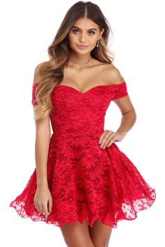 edff3b63bbf Red Strapless Drop Shoulder Lace Skater Dress