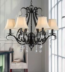 Illuminate your home with elegant style with this crystalchandelier. Rendered in durable metal, this chandelier featurestasteful hanging crystals which beautifully catch and reflect thelight from the