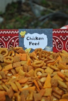chex mix for the favor jars? with a chicken on top? - chex mix for the favor jars? with a chicken on top? chex mix for the favor jars? with a chicken on top? Horse Birthday Parties, Cowboy Birthday Party, Tractor Birthday, Farm Birthday, Birthday Party Themes, Birthday Ideas, Pirate Party, Petting Zoo Birthday Party, Country Birthday Party