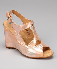 Take a look at this Arancio Metallic Leather Caity Wedge by Born Crown on #zulily today!