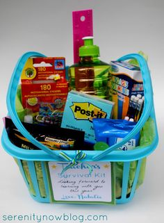 Teacher's Survival Kit starts with plastic bin from Dollar Tree then fill with goodies. Great for your child to give to their teacher at  Open House/Orientation.