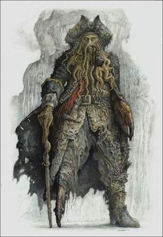 Beautiful concept art for Davy Jones in the Pirates of the Caribbean movies.
