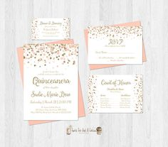 Blush Pink And Gold Glitter Quinceanera Birthday Invitation Set Includes Rsvp Card