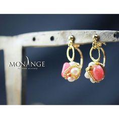 #キャッチビジュー#ピアス#天然石#インカローズ#春#アクセサリー#ハンドメイド#ファッション#accessory#handmade#piercedearrings#bijou#MONANGE#mo2016pie