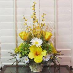 Summer Silk Flower Bouquet Floral Arrangement Centerpiece Yellow Forsythia Stem | eBay