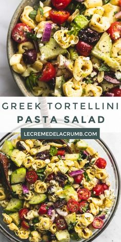 Quick and easy Greek Tortellini Pasta Salad with zesty Greek lemon dressing, fresh veggies, and hearty tortellini pasta will be your go-to potluck salad! Vegetarian Pasta Salad, Healthy Pasta Salad, Easy Pasta Salad, Healthy Pastas, Pasta Salad Recipes, Vegetarian Lunch, Pasta Salad With Tortellini, Tortellini Recipes, Greek Salad Pasta