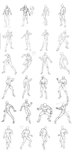 Non-Dynamic Male Pose Reference Row 1 Row 2 (Left), 3 (Left), & 4 Row 2 (Right, by Tracy Butler) Row 3 (Right) Row 5: Left, Right Bottom Image