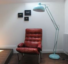 Powder Blue Angled Floor Lamp