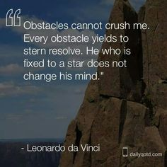 """""""Obstacles cannot crush me.  Every obstacle yields to stern resolve.  He who is fixed to a star does not change his mind.""""   ~~~  Leonardo de Vinci"""