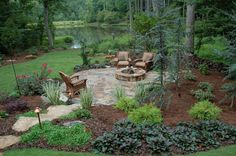 Large backyard landscaping ideas are quite many. However, for you to achieve the best landscaping for a large backyard you need to have a good design. Fire Pit Area, Fire Pit Backyard, Backyard House, Cheap Landscaping Ideas, Patio Ideas, Fire Pit Landscaping Ideas, Large Backyard Landscaping, Landscaping Edging, Backyard Ideas