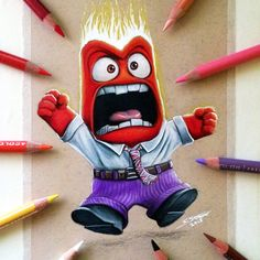 Anger Drawing - Inside Out Fan Art by LethalChris