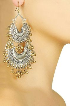83b5904da52aec Details about Vintage Antique Silver Plated Chand Bali Half Circle Indian  Earrings Jhumka Set | half bali ear | Jewelry, Silver jewellery indian, ...