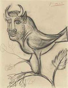 Pablo Picasso (1881-1973)  Dessin à la mine de plomb (Minotaure en forme d'oiseau)