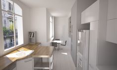 Modern kitchen in Paris Furniture, Interior Design Projects, Interior, Simply Home, Modern Kitchen, Table, Home Decor, Kitchen, Conference Room Table