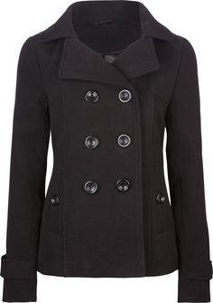 Womens Long Button Down Double Breasted Peacoat Jacket With Belt ...