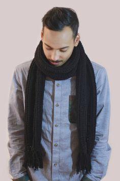 Black Crochet Fringe Scarf. Unisex Men's fashion