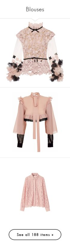 """Blouses"" by sakuragirl ❤ liked on Polyvore featuring tops, blouses, jackets, collar blouse, lace sleeve blouse, see through blouse, bow blouses, sheer sleeve blouse, shirts and crop top"