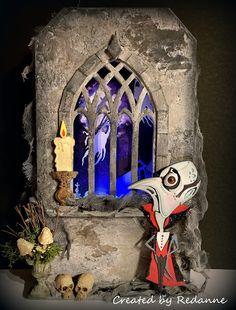 Halloween Shadow Box, Halloween Tags, Halloween Projects, Halloween Themes, Fall Halloween, Tim Holtz Dies, Sizzix Dies, Creepy Eyes, Halloween Scrapbook