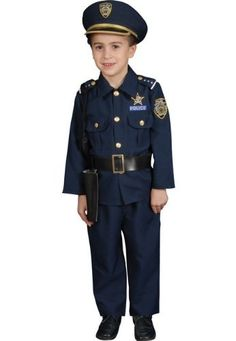 """Police Officer Costume- Child Costume deluxe - Medium (8-10) . $33.88. This Police Outfit color is navy blue. Medium (8-10) fits most kids age 5-7 years. Small (4-6) fits most kids age 3-4 years. """"Stop in the name of the law!"""" Police Child Costume Deluxe Includes  Jacket, Elastic Pants, Hat, Belt, Whistle, and Gun Holster. This professions costume is available in child sizes Small (4-6) and Medium (8-10). Please note: Does not include hand cuffs."""
