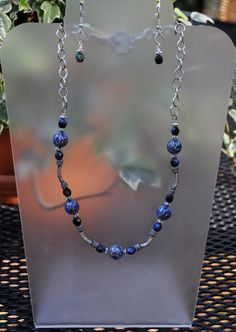 Jewelry - Vintage Look Blue and Silver Cloisonne Necklace and earring set beaded by JewelryArtByGail