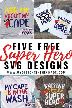 Superheroes are all the rage right now with the new Avengers movie coming out.  Unfortunately though, designs that use those characters or words are trademarked….  So I had to improvise.  Today I have some cute free superhero SVG designs that you can wear and sell products with if you choose. You are more than welcome … Superhero Teacher, Superhero Classroom, Superhero Party, New Avengers Movie, Cricut Tutorials, Cricut Ideas, Cricut Craft, Baby Svg, Svg Files For Cricut