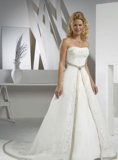 A Line Princess Strapless Cathedral Train wedding dress WD6855