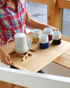 hacoa 大容量木製食器トレイ Floor tray