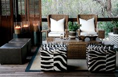 Yvonne O'Brien Londolozi Tree Camp--outdoor room feel and design Living Area, Living Spaces, Living Room, African Interior Design, Tree Camping, British Colonial Style, African Home Decor, Leather Bed, Lodge Decor
