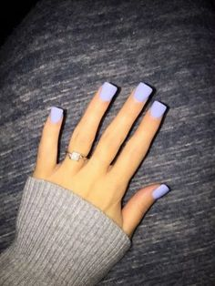 Straight edges, faded blue color - Bebe Tutorial and Ideas Periwinkle Nails, Purple Acrylic Nails, Gold Nails, Purple Nails, Stiletto Nails, Coffin Nails, Short Square Acrylic Nails, Short Square Nails, Halloween Acrylic Nails