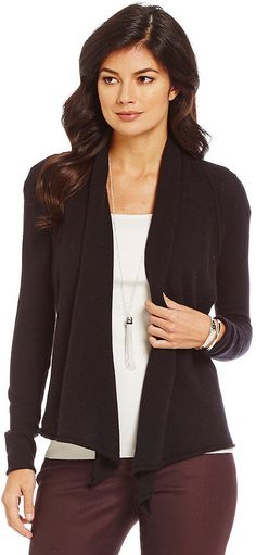 Alex Marie Lilly Cashmere Open-Front Drape Cardigan