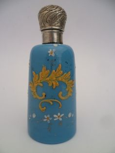 Antique Blue Gilded Oplaline Solid Silver Top Perfume Scent Bottle C1880 | eBay