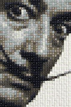 Remarkable Pixelated Portraits Made of Computer Keys by Guy Whitby