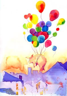 Pig flying with colourful balloons. Tattoo idea