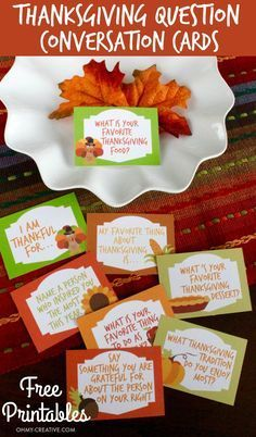 Starters Free Printables Dress up the ThanksgIving table with these Thanksgiving Conversation Starters! These Free Printable Thanksgiving Question Cards are a great way to share thankfulness and gratitude with each other around the thanksgiving table! Thanksgiving Traditions, Thanksgiving Table Settings, Thanksgiving Parties, Thanksgiving Centerpieces, Thanksgiving Activities, Thanksgiving Crafts, Thanksgiving Appetizers, Thanksgiving Outfit, Thanksgiving Sayings