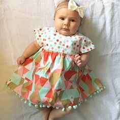 Baby Girl Dress Cap Sleeve Girls Dress Aqua by ThePathLessRaveled