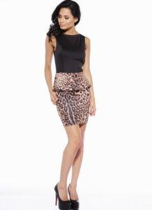 Leopard Print Peplum Dress with Black Sleeveless Top