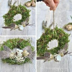 Moss wreaths for Easter - decoration with feathers & bulbs . Easter Wreaths, Christmas Wreaths, Easter Flower Arrangements, Moss Wreath, Feather Crafts, Valentines Day Decorations, Spring Crafts, Decor Crafts, Making Ideas
