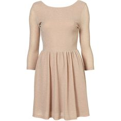 SOLD OUT TOPSHOP NUDE PINK LUREX METALLIC SKATER FLIPPY DRESS SIZE 8 ❤ liked on Polyvore