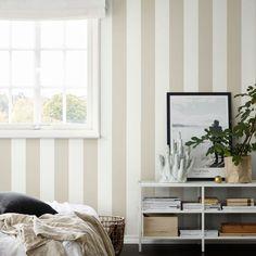 tienda online telas & papel | Papel pintado rayas Magnus beige oscuro