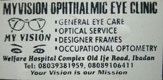 Does this mean anything to you?  Eye care centre ibadan optometrist ibadan  refraction  glaucoma eye doctor reading glasses bifocal lenses contact lens recommended glasses eye treatment cataract intraocular pressure short sight myopia long sight cataract surgery computer glasses designer frame eye accident eye drop astigmatism chloramphenicol eye supplement best eye clinic ibadan https://m.facebook.com/myvision.eyeclinic/