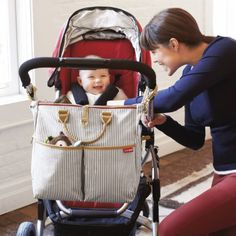 Stylish Diaper Bags for Moms Skip Hop Duo Special Edition Diaper Bag. Can be hung from the stroller or worn over the shoulder in a beautiful striped fabric. Baby Nappy Bags, Best Diaper Bag, Diaper Bags, Stroller Bag, Chelsea, Striped Bags, Kids Store, Changing Pad, Baby Items