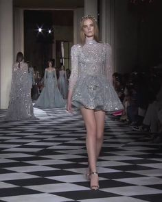 Stunning Embroidered Backless Gray A-Lane Evening Mini Dress with High Neck, Long Sleeves and Open Back. Couture Fall Winter 2018/2019 Collection Runway by Zuhair Murad