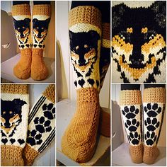 Ravelry: Vuffe-sukat pattern by Titta Järvensivu Knitting Charts, Knitting Socks, Hand Knitting, Knitting Patterns, Crochet Patterns, Knit Art, Knitted Slippers, Fair Isle Knitting, Knitting Accessories