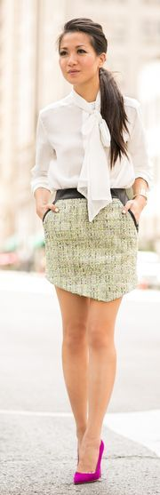 Marissa Webb Tweed With Leather asymmetrical Hem Mini Skirt by Wendy's Lookbook